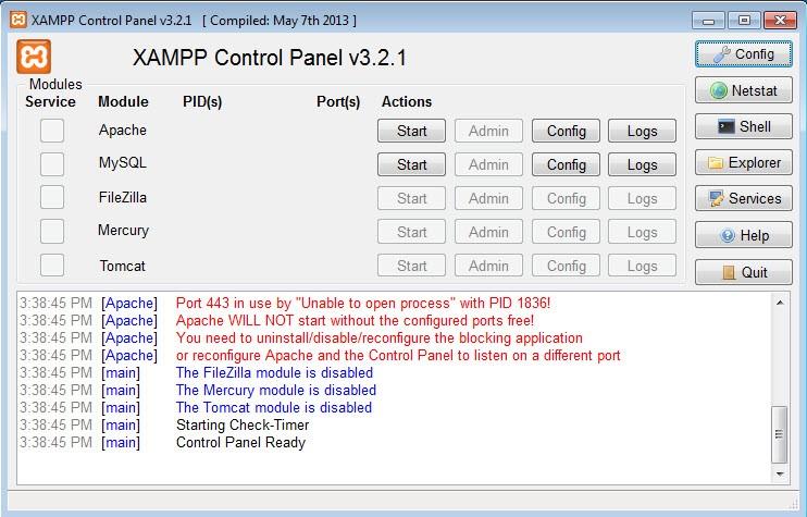 Bảng điều khiển Xampp