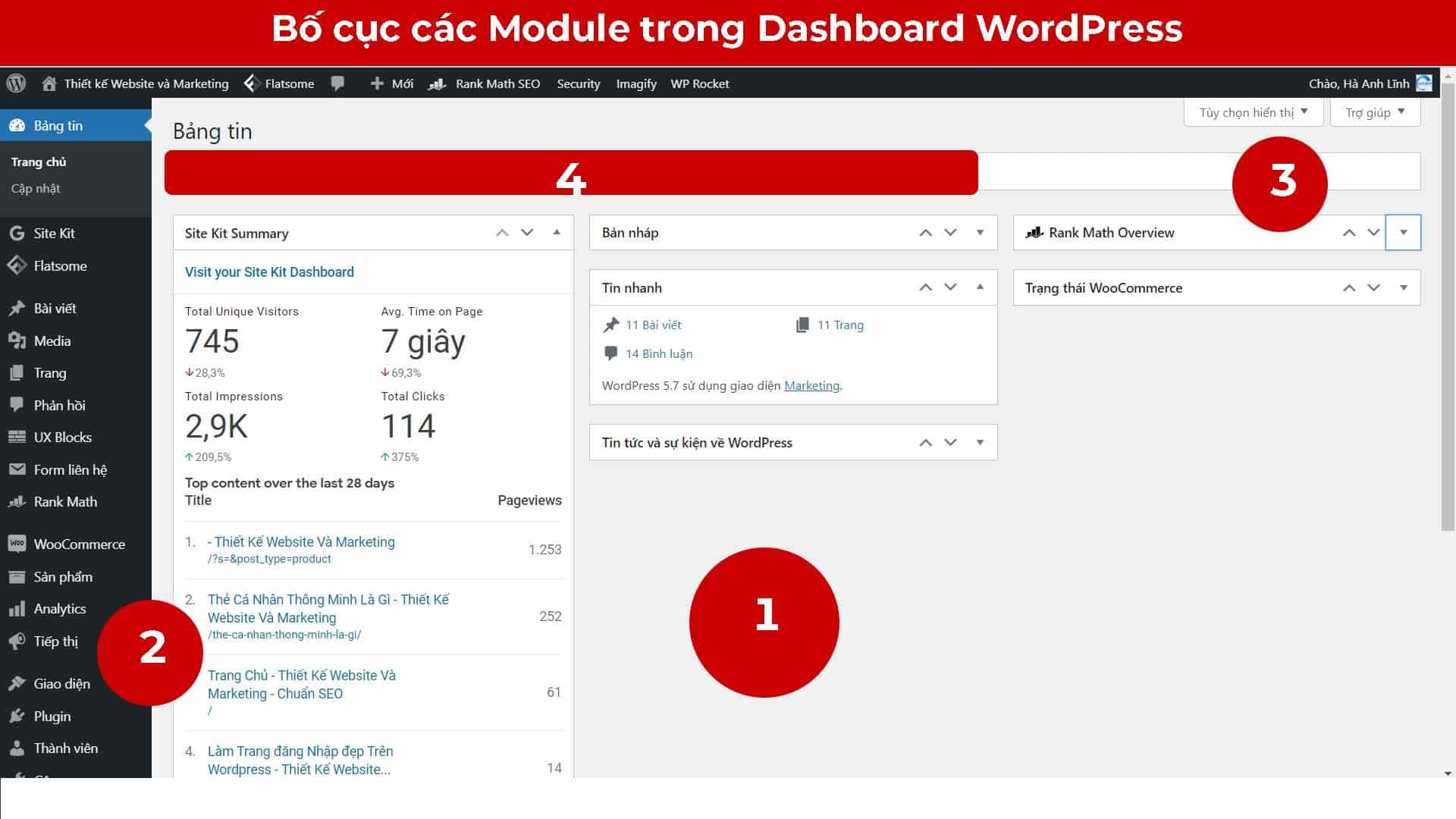 Bố cục Dashboard WordPress
