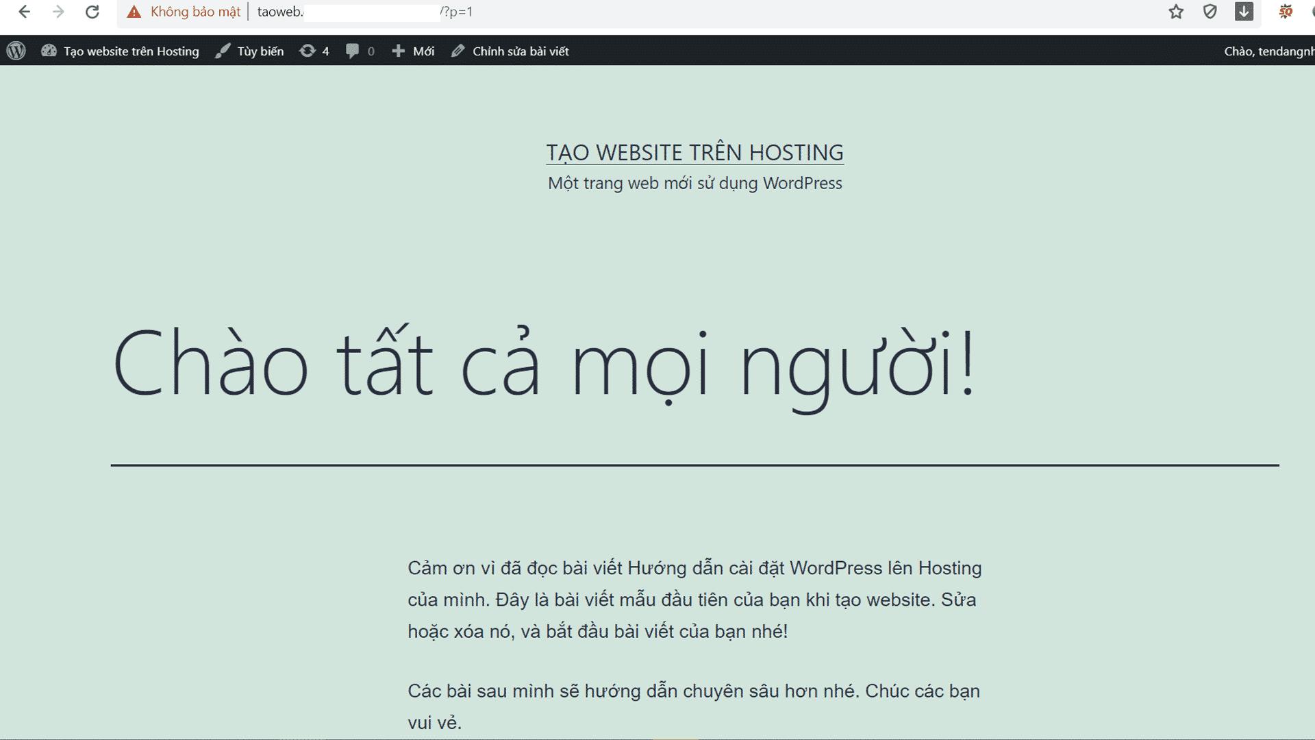 Cài đặt WordPress trên Hosting hoàn thành