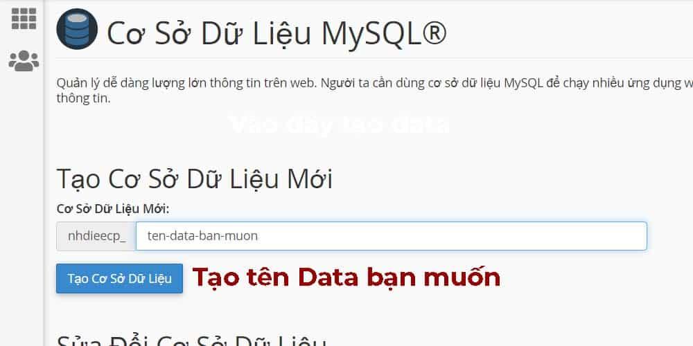 Tạo tên Database