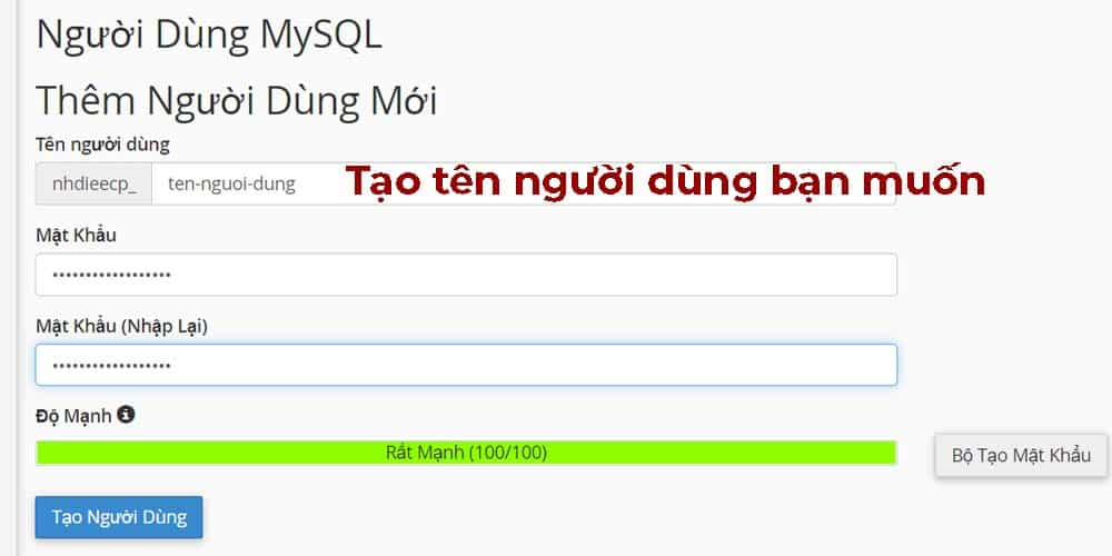 Tạo use database