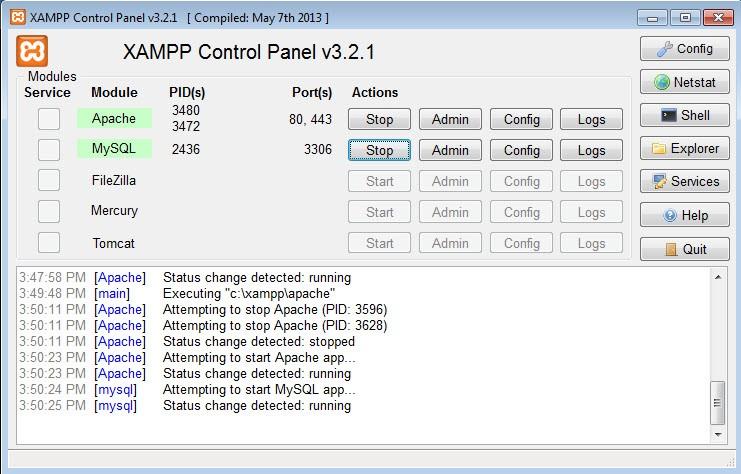 xampp panel start