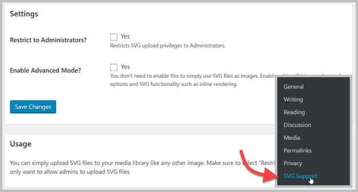 Cài đặt Plugin SVG Support