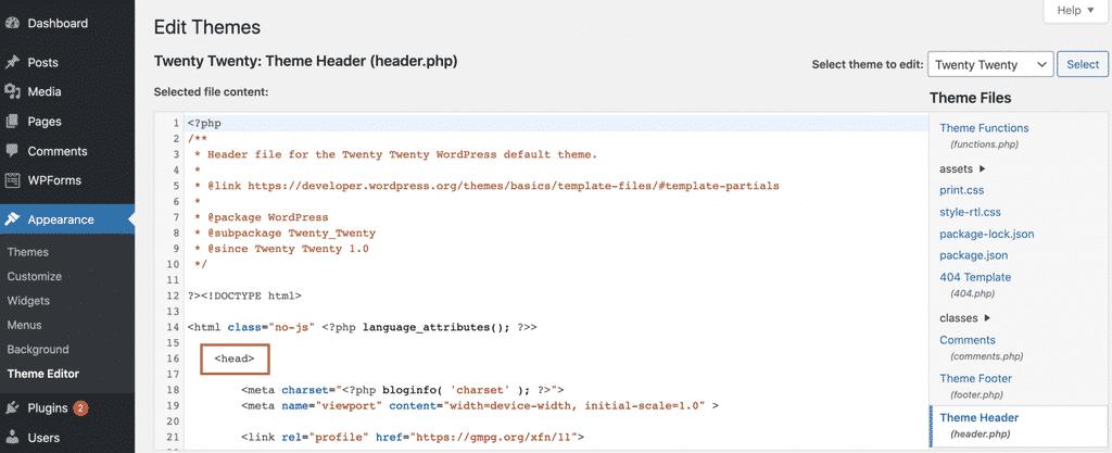 Chèn vào file header.php