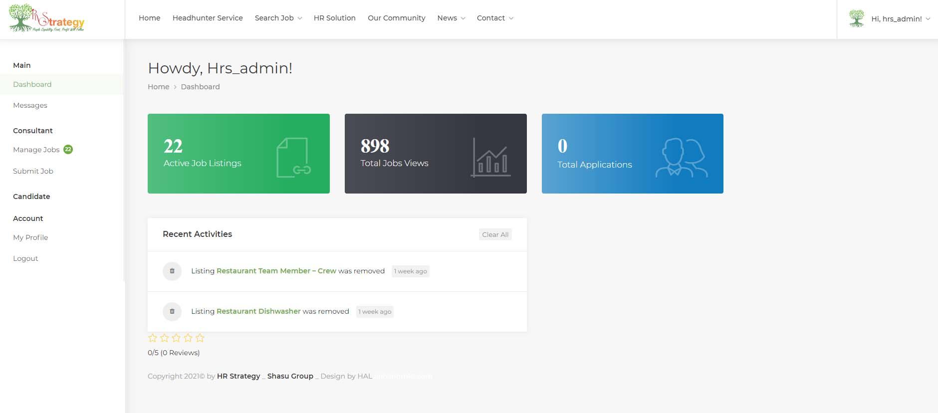 Trang tổng quan giao diện người dùng