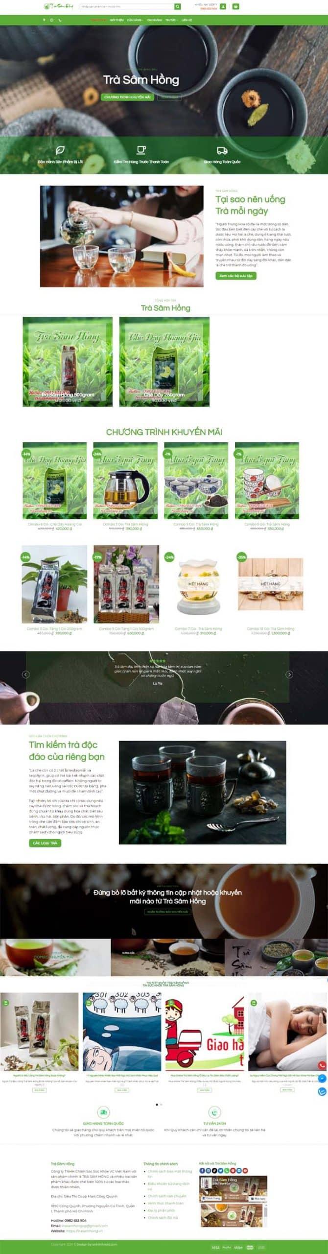 Giao diện website Trà Sâm Hồng