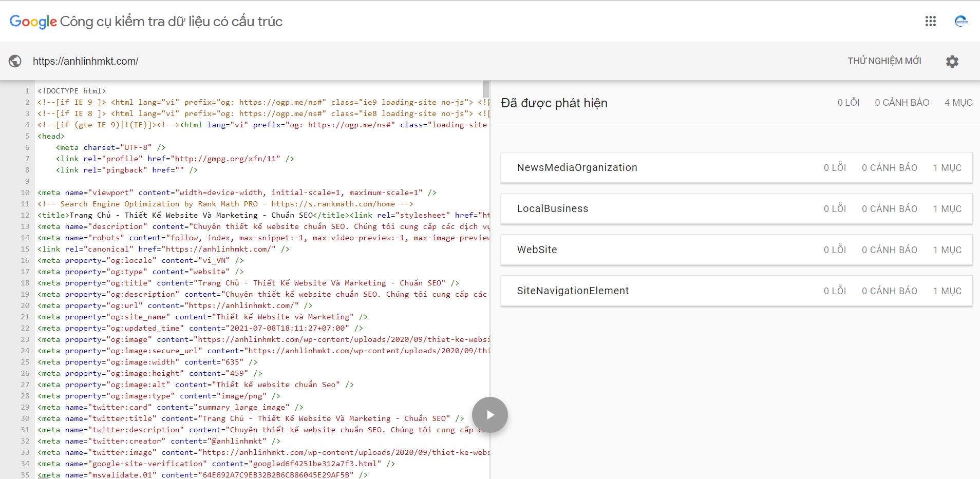 Công cụ để kiểm tra dữ liệu có cấu trúc của Google