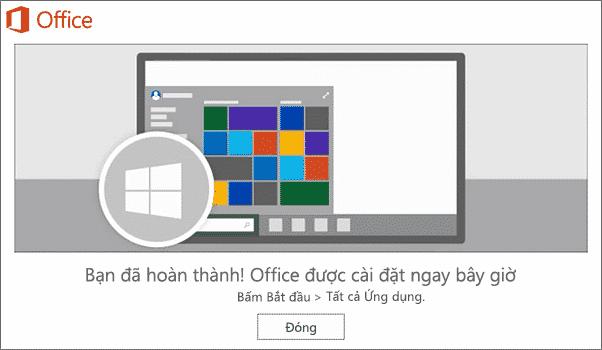 Cài đặt office 365 hoàn thành