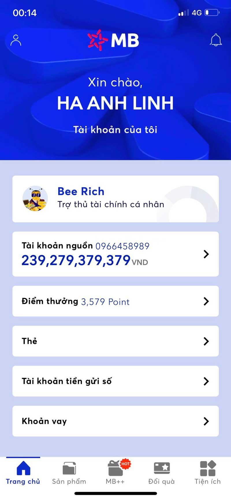 Face số dư tài khoản MB Bank